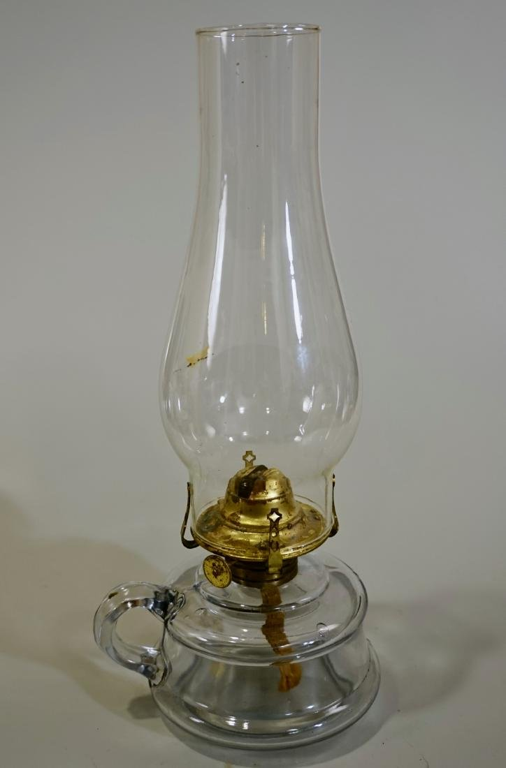 Vintage Clear Glass Chamber Kerosene Finger Lamp Hand - 3