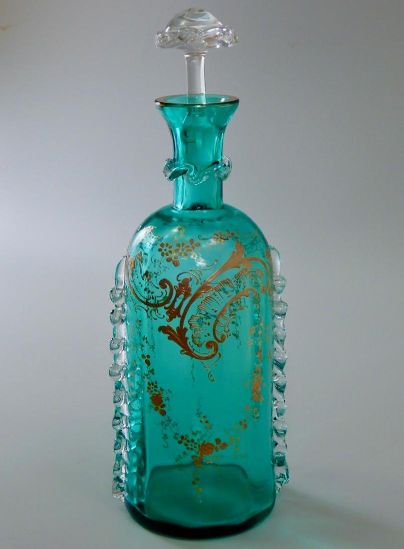 Fine Blue Art Glass Gold Enamel Decorated Bottle - 4