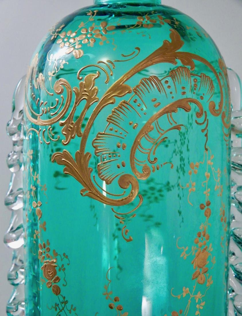 Fine Blue Art Glass Gold Enamel Decorated Bottle - 7