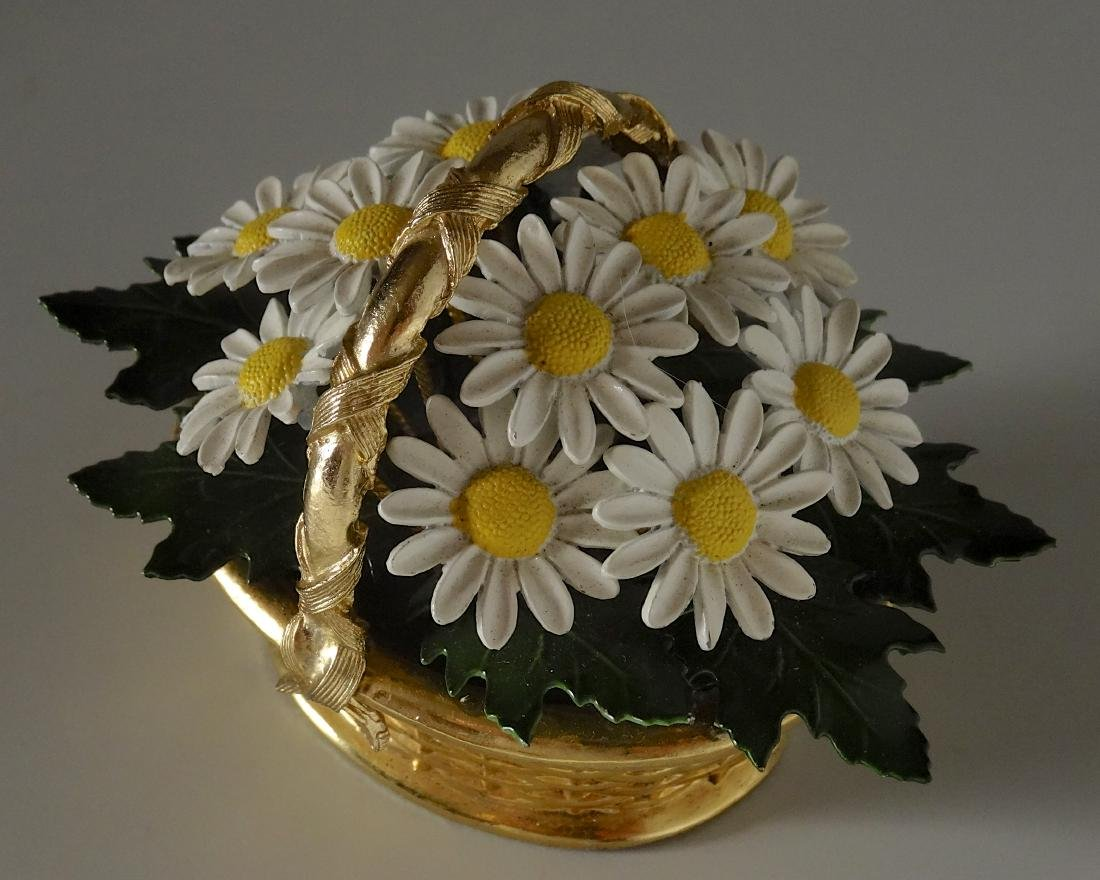 Vintage Enameled Daisy Flowers Basket Paperweight - 2