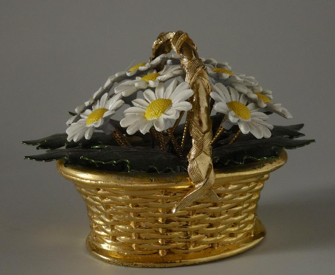 Vintage Enameled Daisy Flowers Basket Paperweight - 3