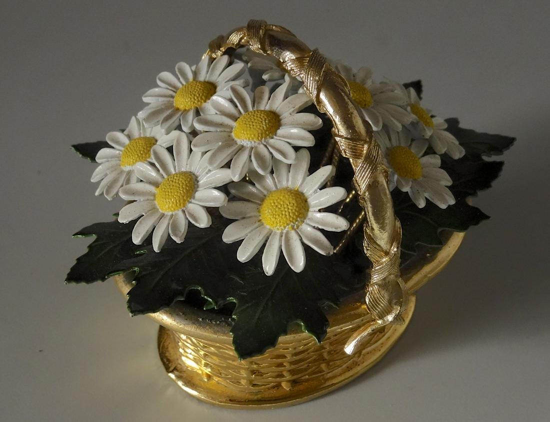 Vintage Enameled Daisy Flowers Basket Paperweight - 4