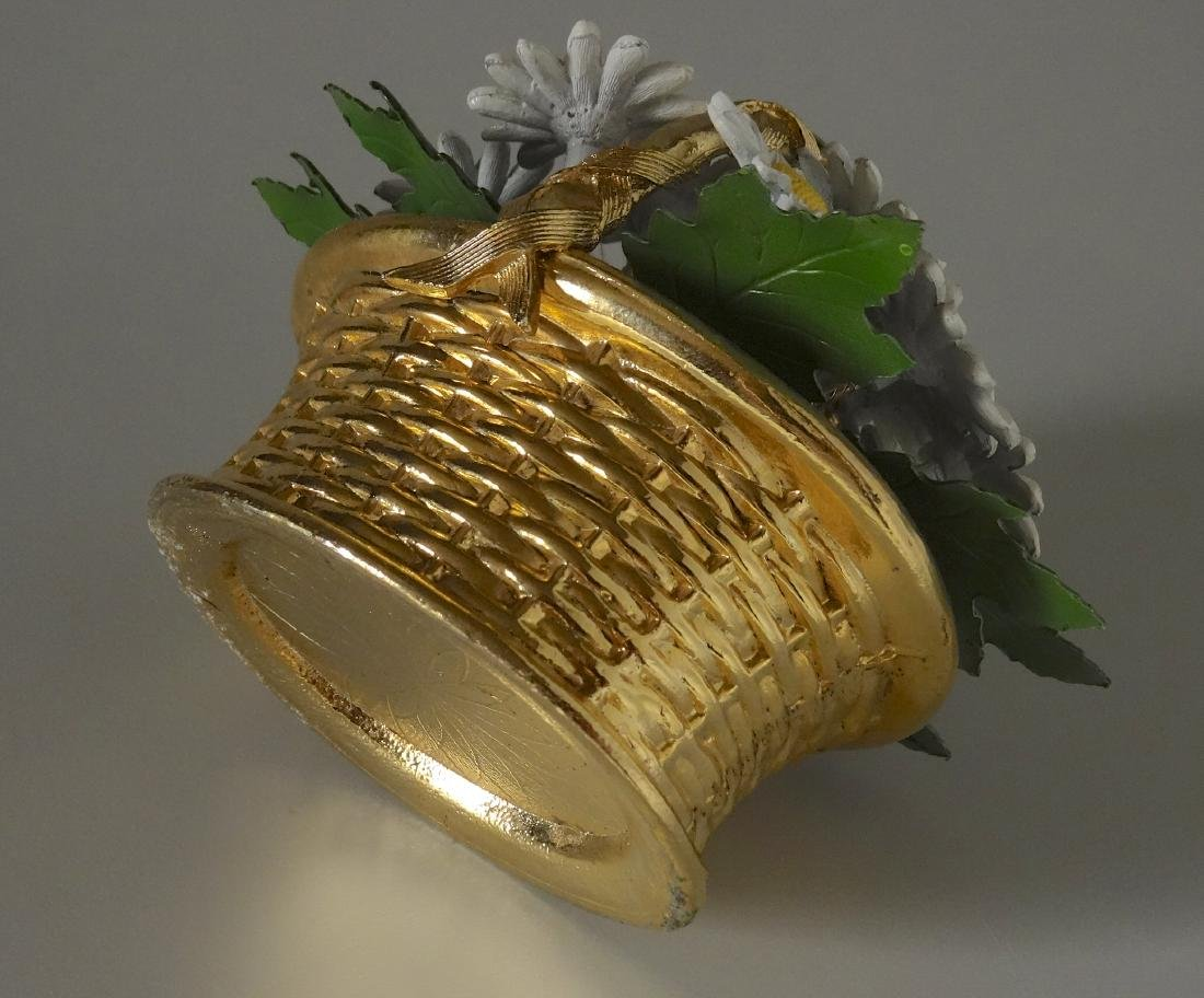 Vintage Enameled Daisy Flowers Basket Paperweight - 5