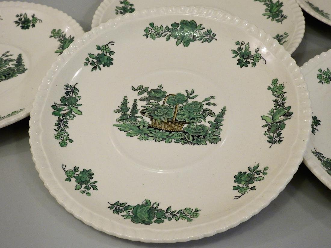 Green Basket Spode Copeland English Bone China Dessert - 2