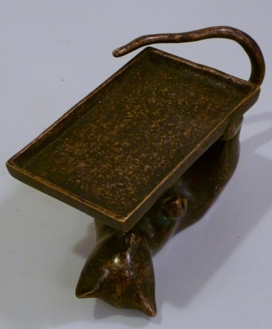 Playful Cat Business Card Tray Holder Patinated Brass - 2