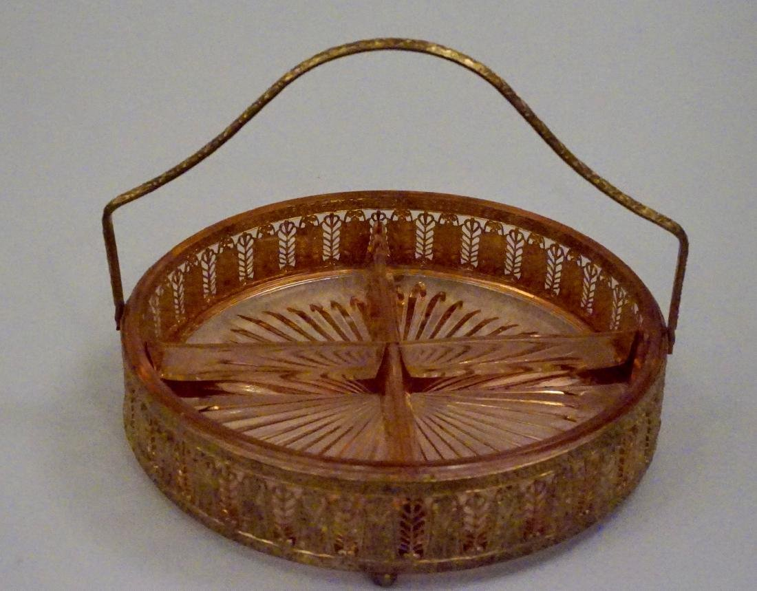Art Deco Ormolu Basket Pink Glass Divided Dish