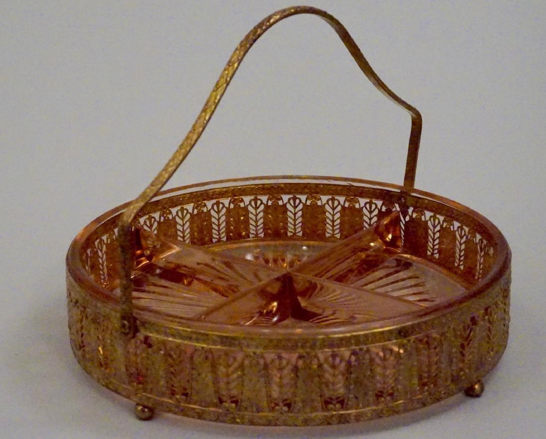 Art Deco Ormolu Basket Pink Glass Divided Dish - 2