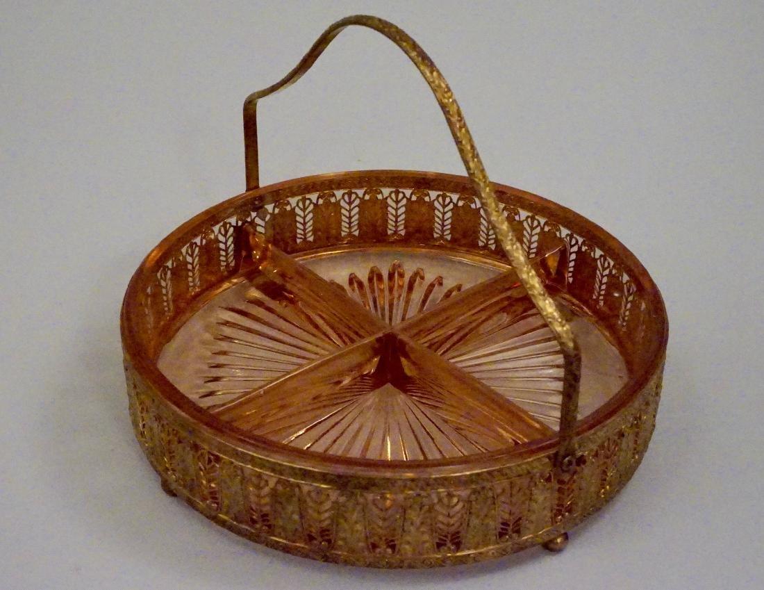 Art Deco Ormolu Basket Pink Glass Divided Dish - 4