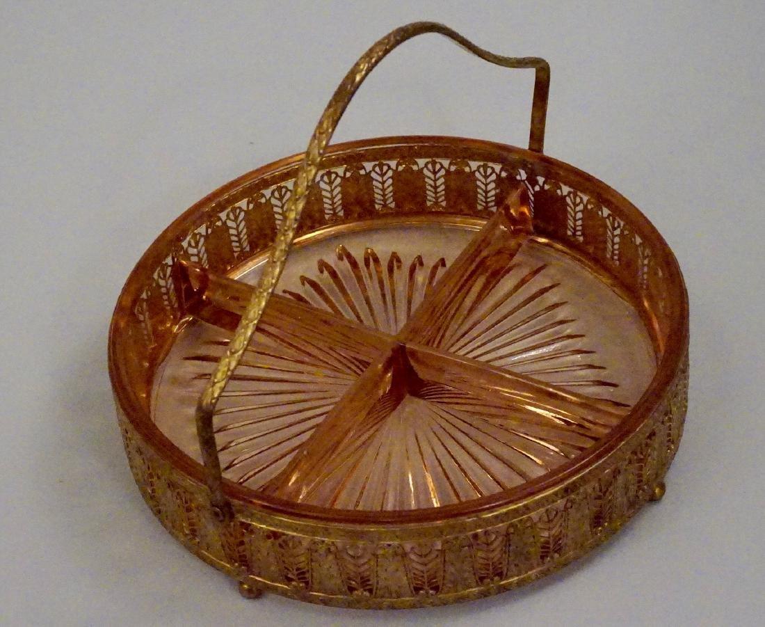 Art Deco Ormolu Basket Pink Glass Divided Dish - 5