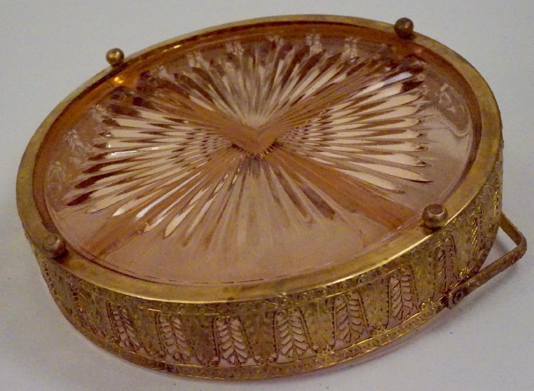 Art Deco Ormolu Basket Pink Glass Divided Dish - 8