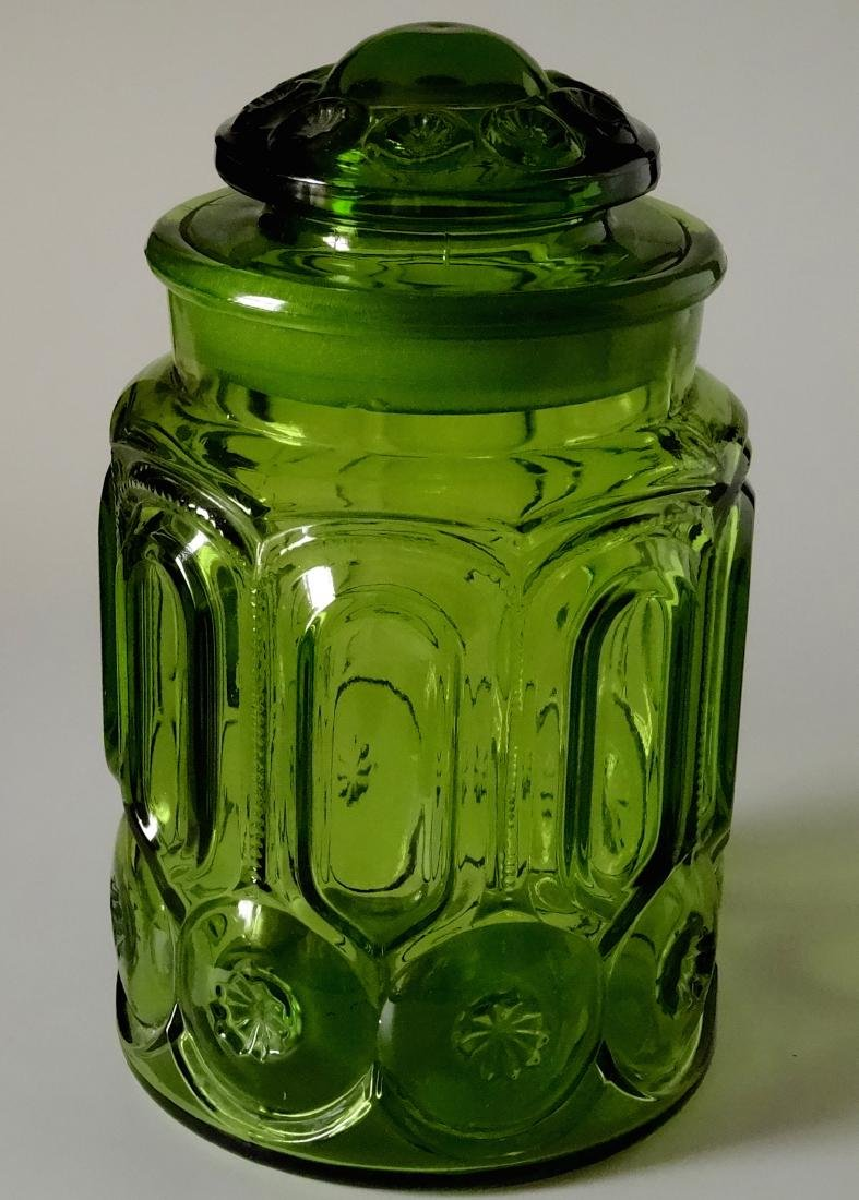Vintage Green Glass Apothecary Jar Canister Container