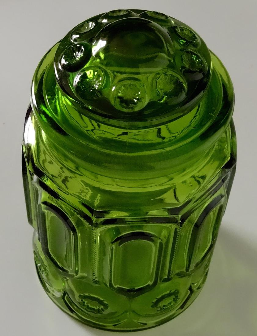 Vintage Green Glass Apothecary Jar Canister Container - 2