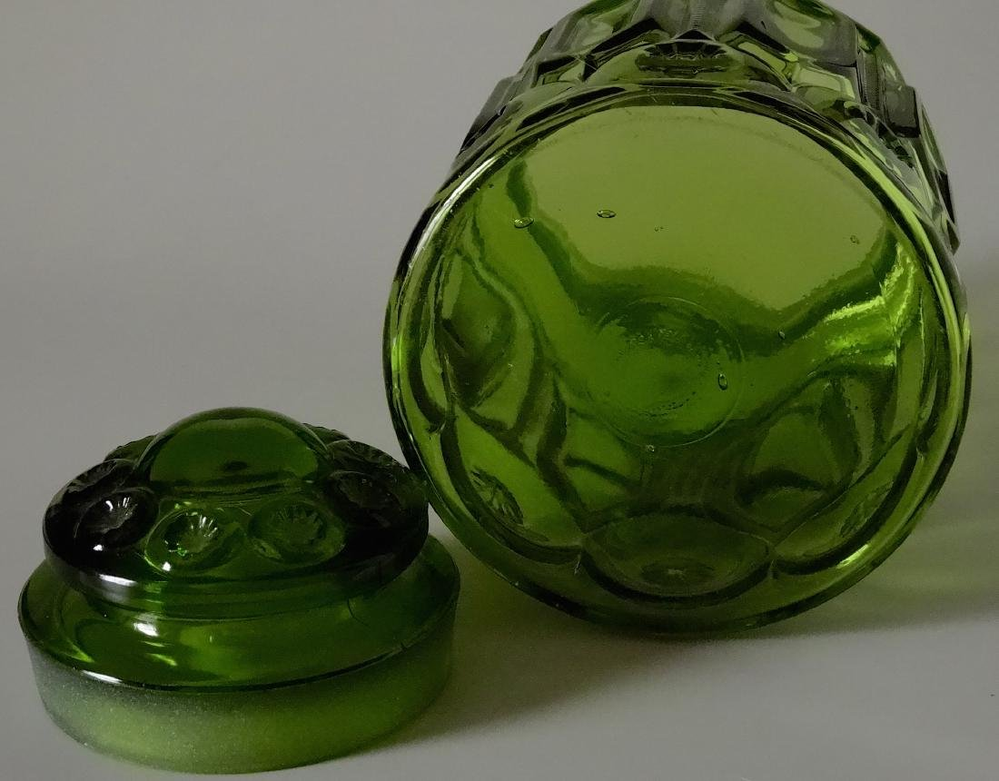 Vintage Green Glass Apothecary Jar Canister Container - 4