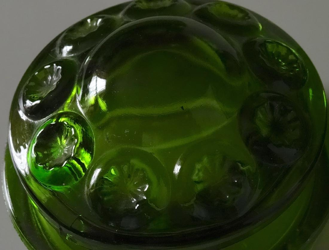 Vintage Green Glass Apothecary Jar Canister Container - 5
