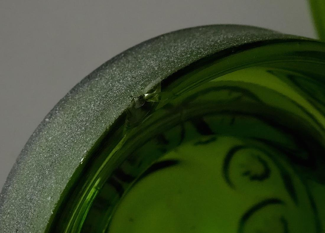 Vintage Green Glass Apothecary Jar Canister Container - 6