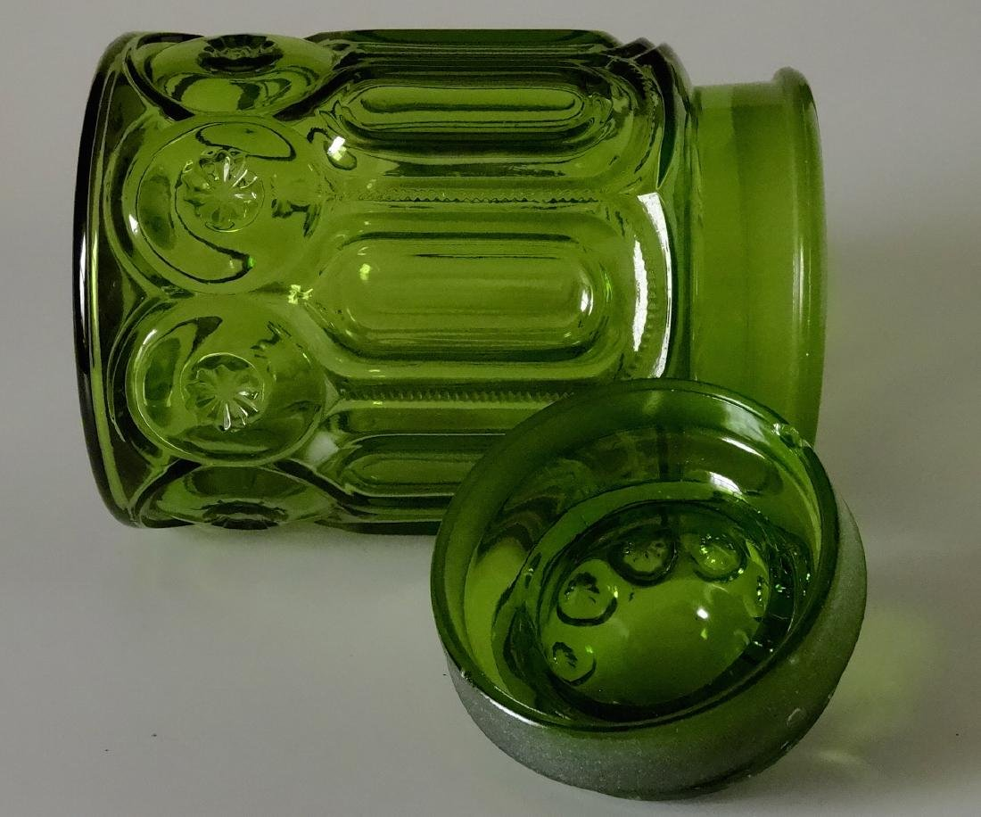 Vintage Green Glass Apothecary Jar Canister Container - 7