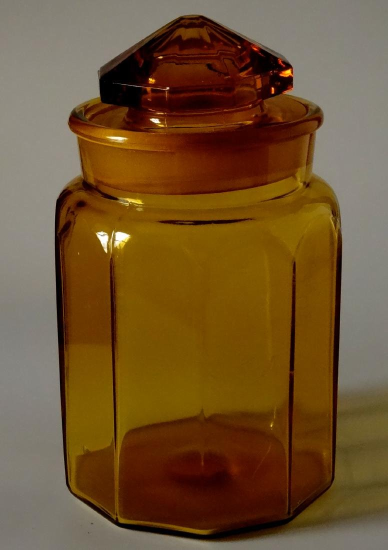 Vintage Amber Glass Apothecary Jar Storage Container