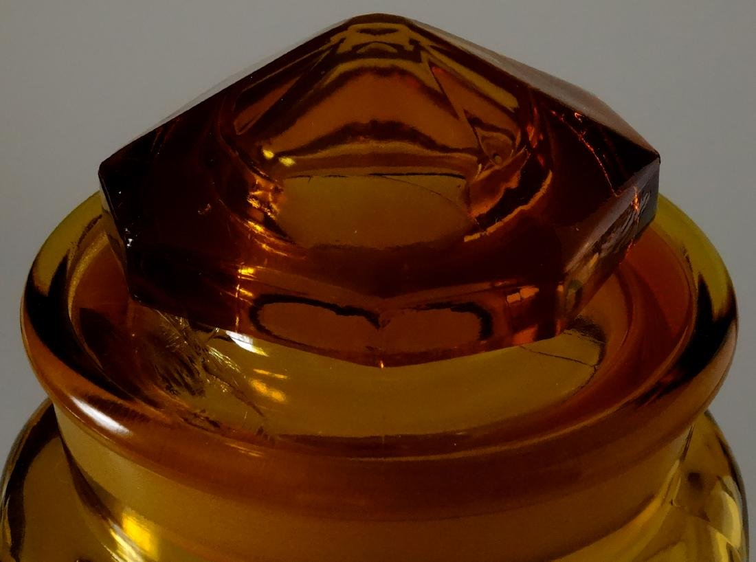 Vintage Amber Glass Apothecary Jar Storage Container - 3