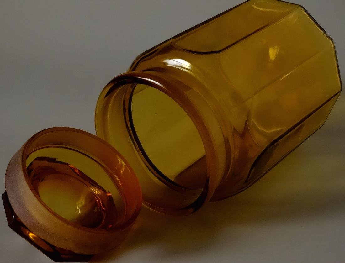 Vintage Amber Glass Apothecary Jar Storage Container - 4