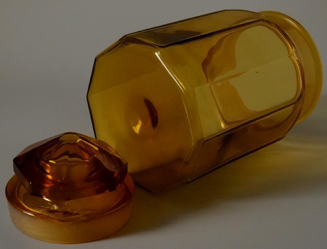 Vintage Amber Glass Apothecary Jar Storage Container - 6