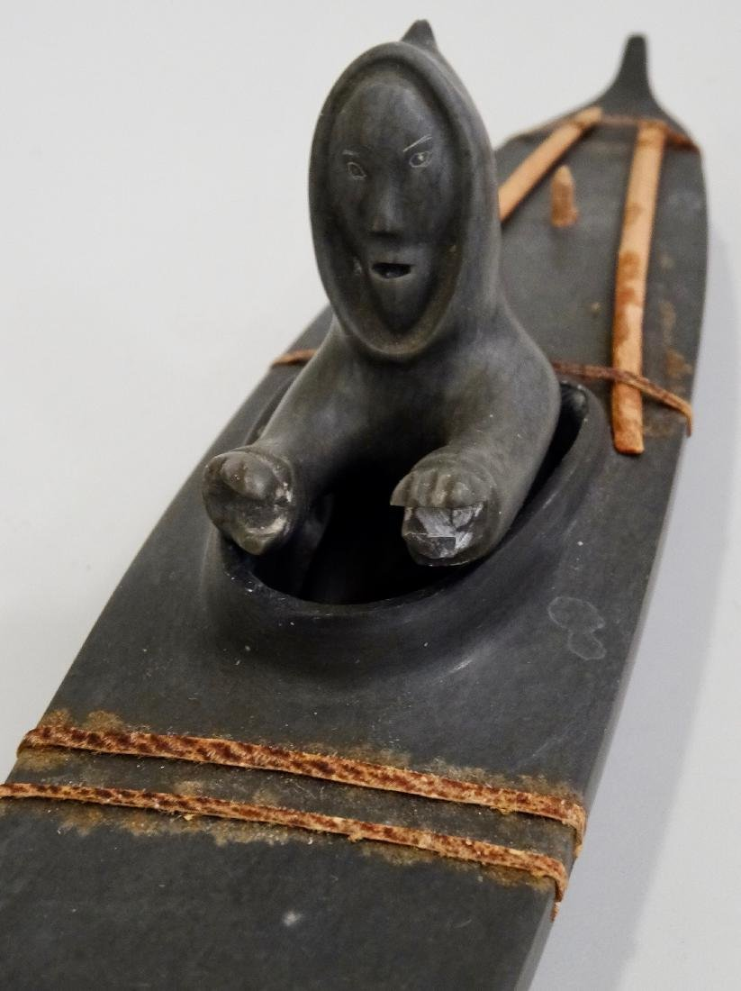 Inuit Eskimo Kayak Boat Stone Carved 2- piece Figurine - 6