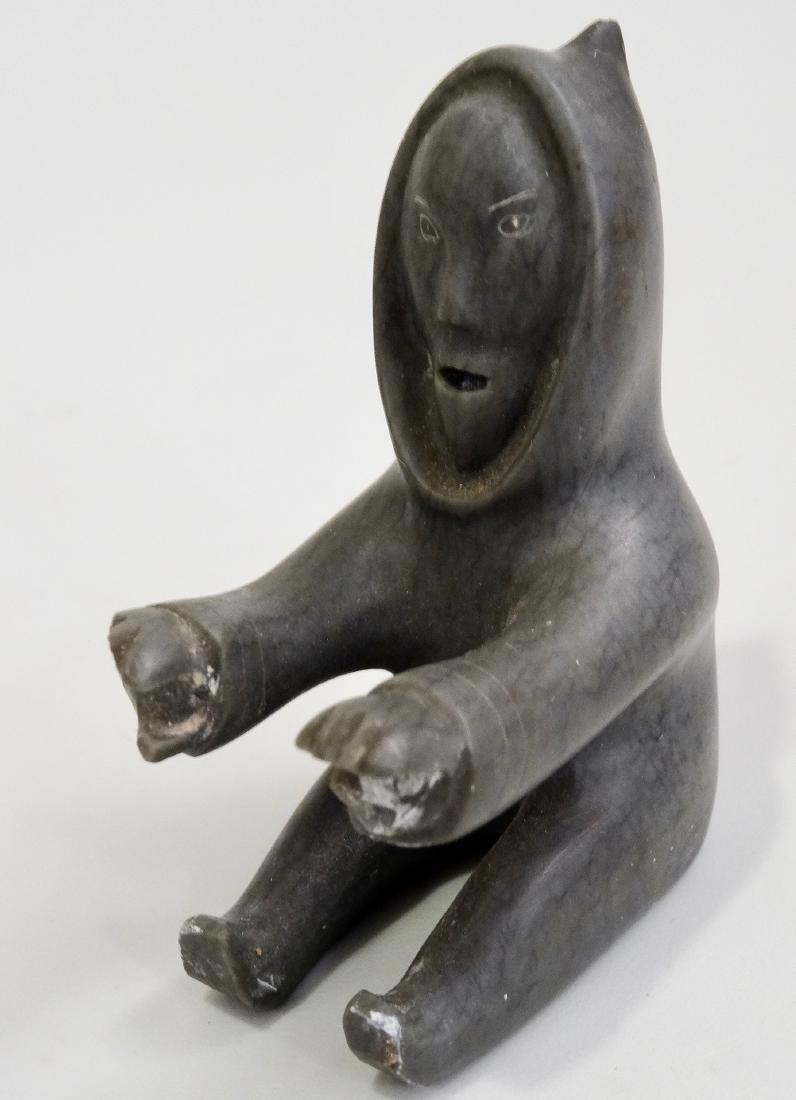 Inuit Eskimo Kayak Boat Stone Carved 2- piece Figurine - 9