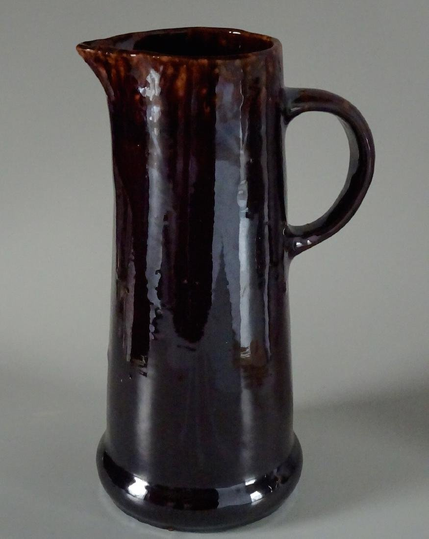 Earthenware Pottery Dark Brown Rockingham Glaze Pitcher