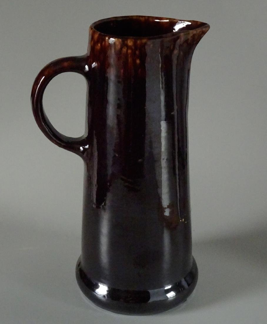 Earthenware Pottery Dark Brown Rockingham Glaze Pitcher - 2