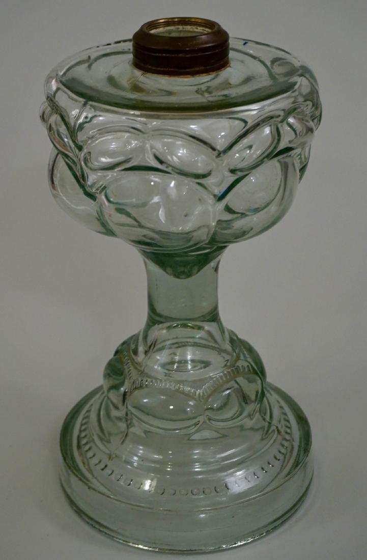 Antique EAPG Pressed Glass Kerosene Oil Lamp Base - 2