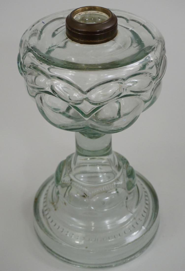 Antique EAPG Pressed Glass Kerosene Oil Lamp Base - 3