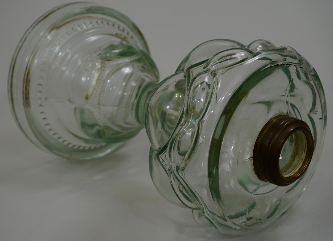 Antique EAPG Pressed Glass Kerosene Oil Lamp Base - 5