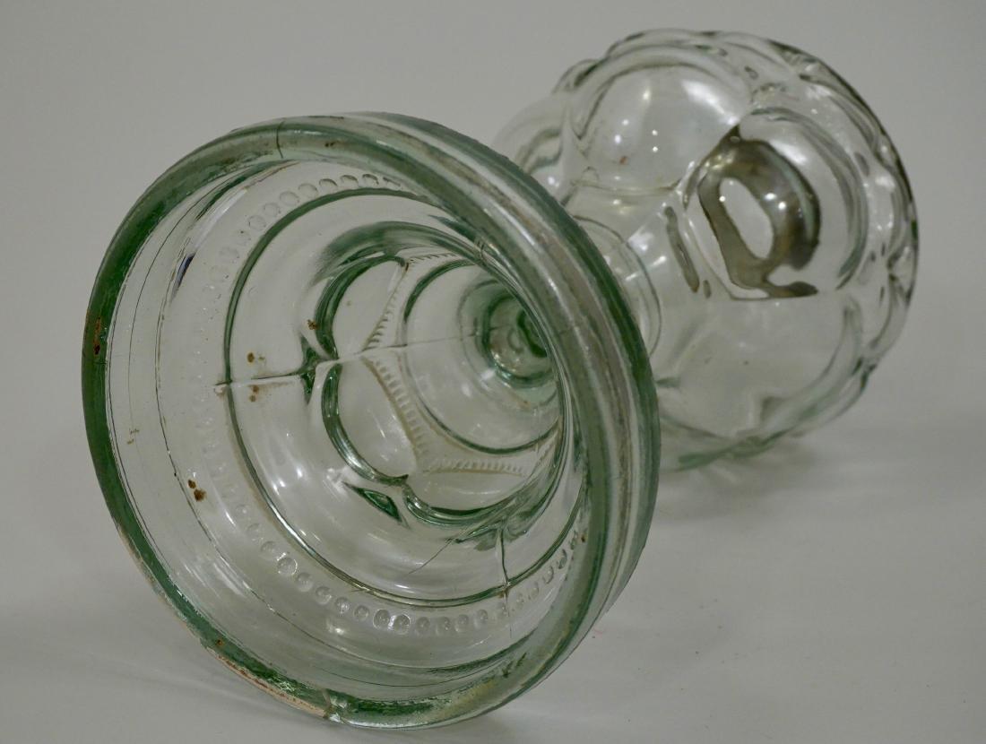Antique EAPG Pressed Glass Kerosene Oil Lamp Base - 7
