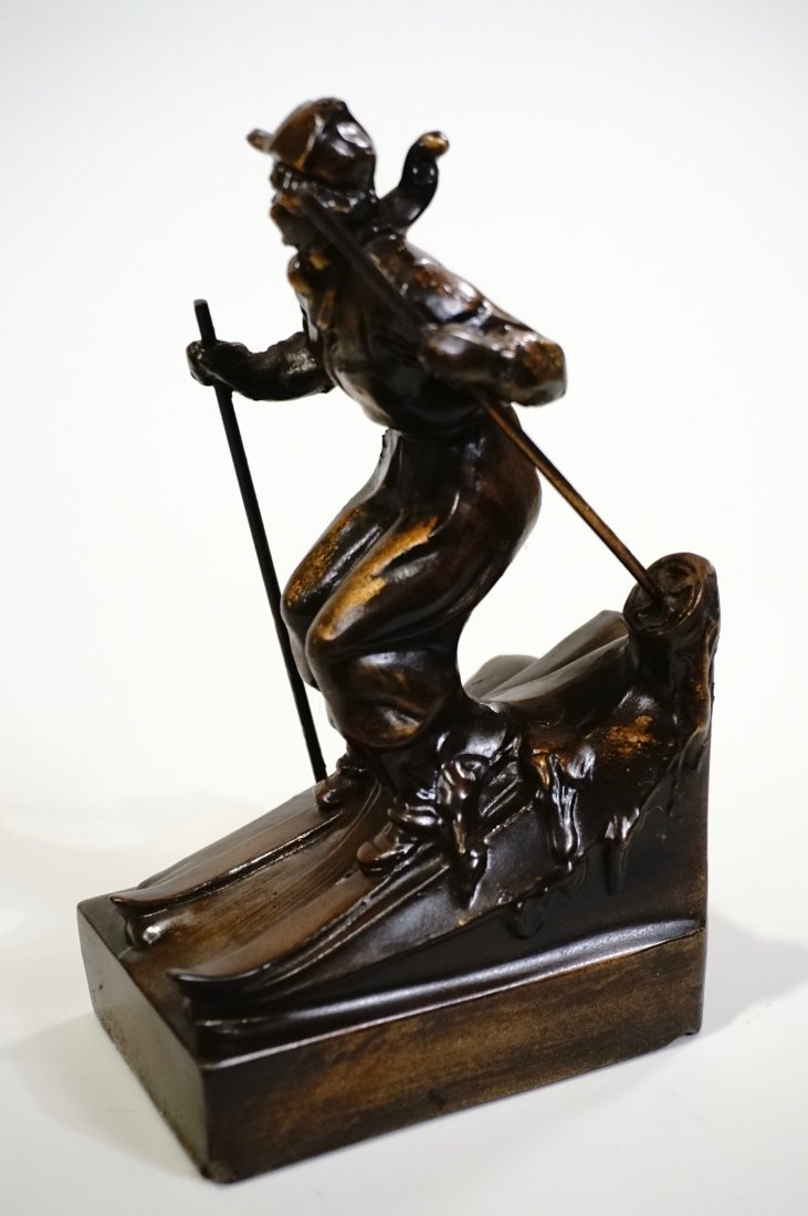 Vintage Art Deco Skiing Girl Bookend Circa 1940