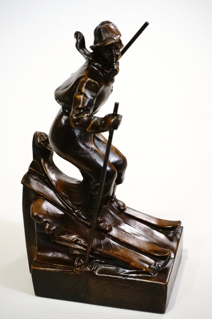 Vintage Art Deco Skiing Girl Bookend Circa 1940 - 2
