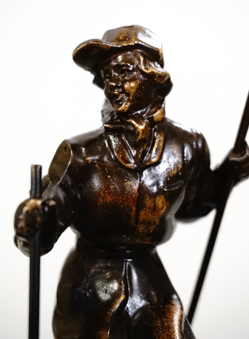 Vintage Art Deco Skiing Girl Bookend Circa 1940 - 3