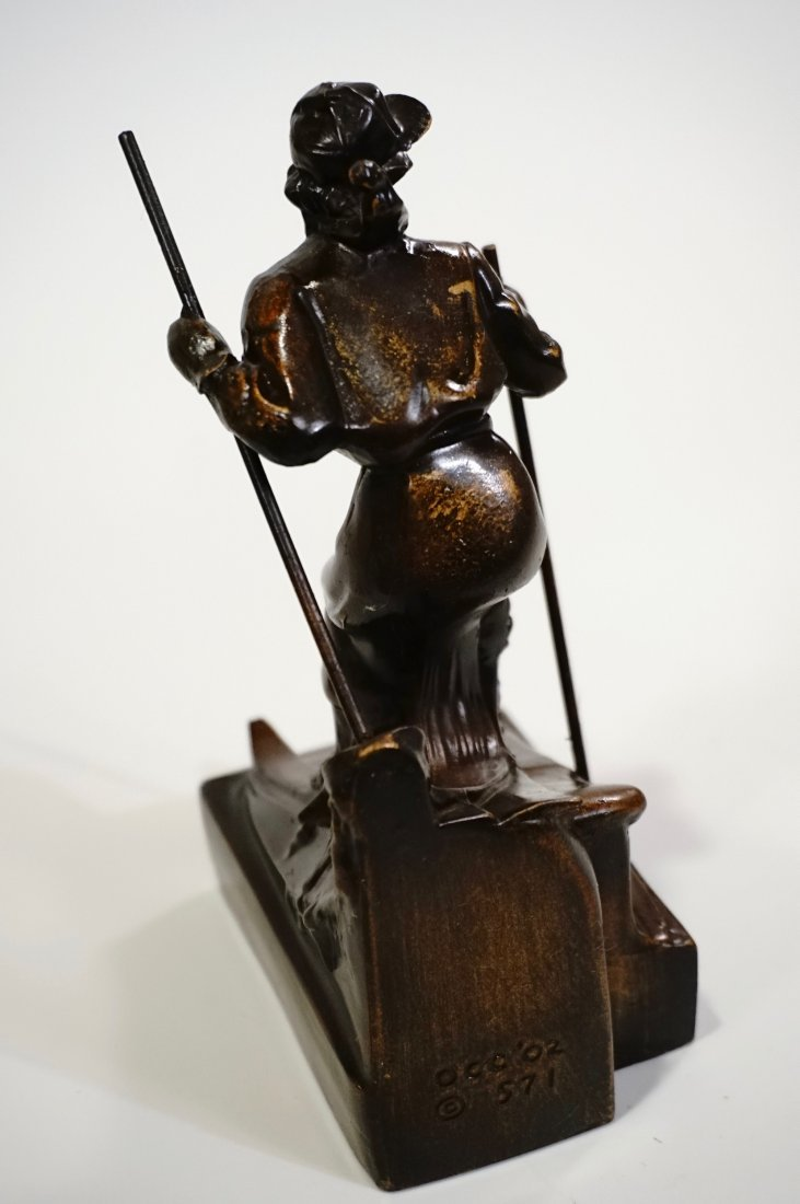 Vintage Art Deco Skiing Girl Bookend Circa 1940 - 6