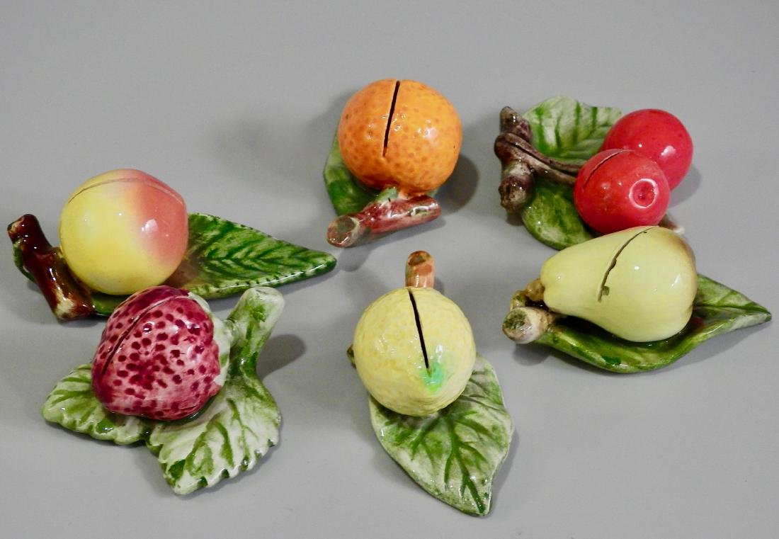 Ceramic Fruits Dining Table Place Card Holders Lot of 6