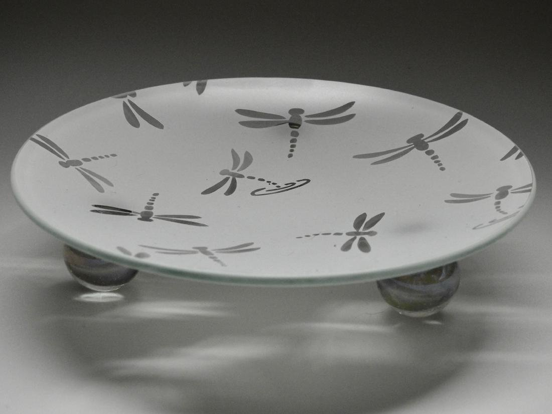 Modern Dragonfly Art Glass Footed Dish