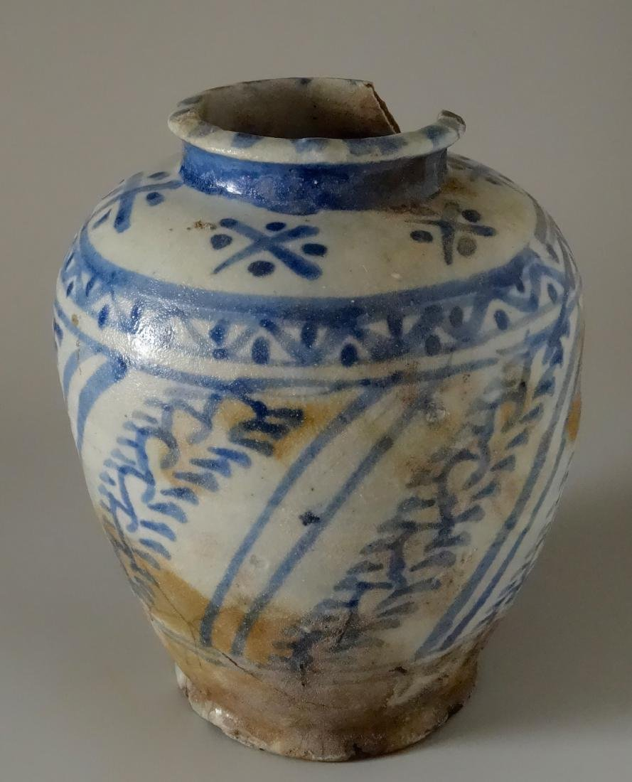 Chinese Antique Ginger Jar Blue and White Ceramic As Is - 4