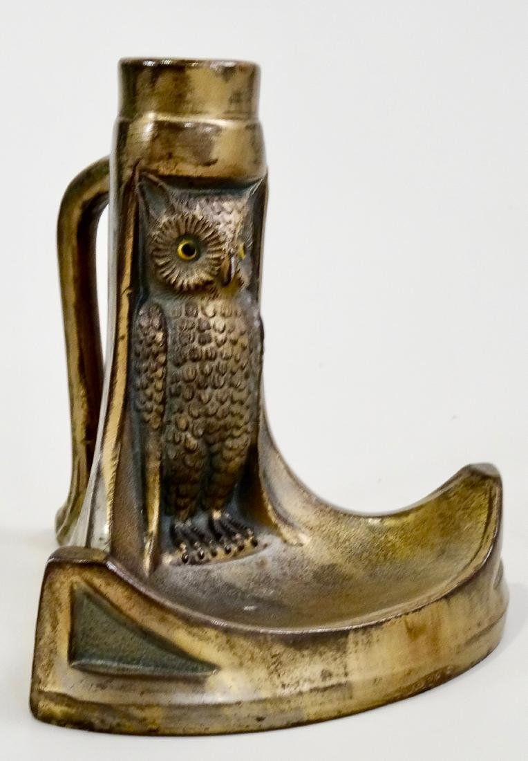 Vintage Owl Chamberstick Ashtray Candle Holder - 8