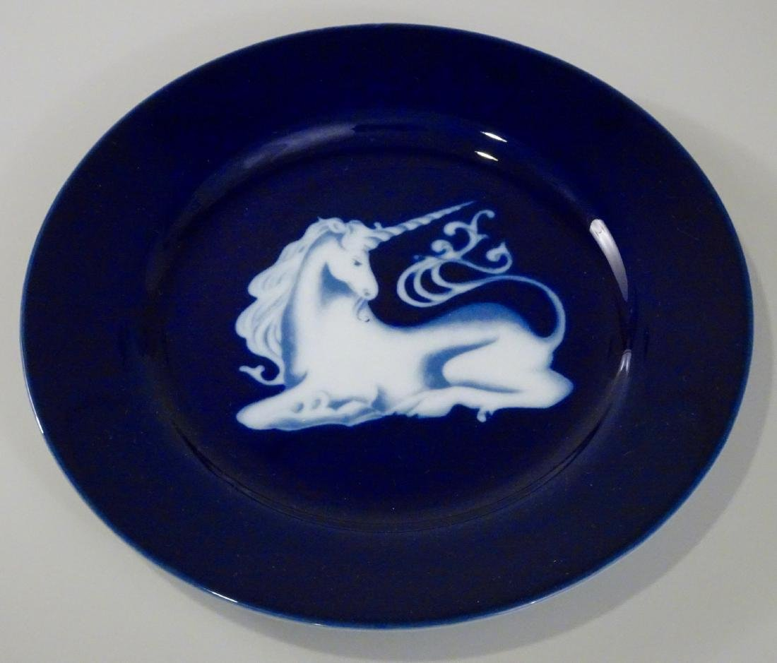 Unicorn In Glaze Cobalt Blue Collector's Plate