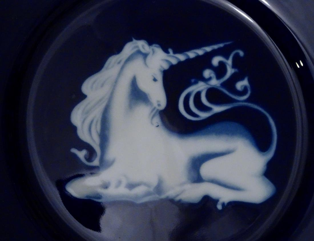 Unicorn In Glaze Cobalt Blue Collector's Plate - 3