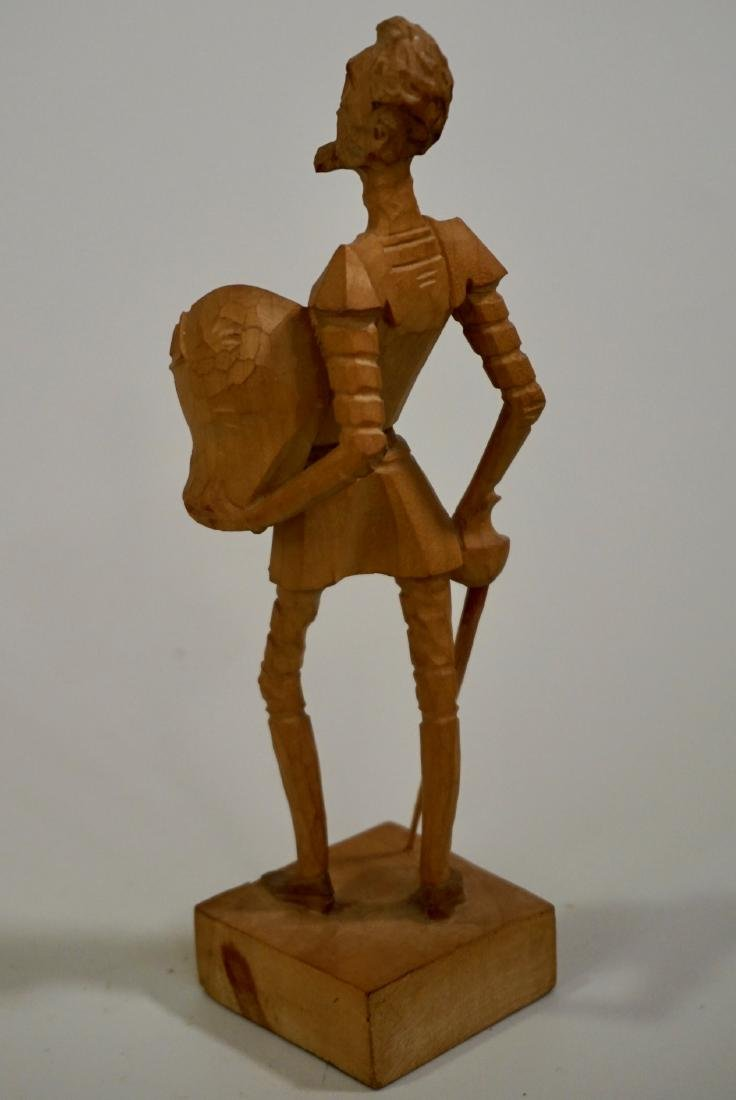 Vintage Carved Wood Figurine Of Don Quixote - 4
