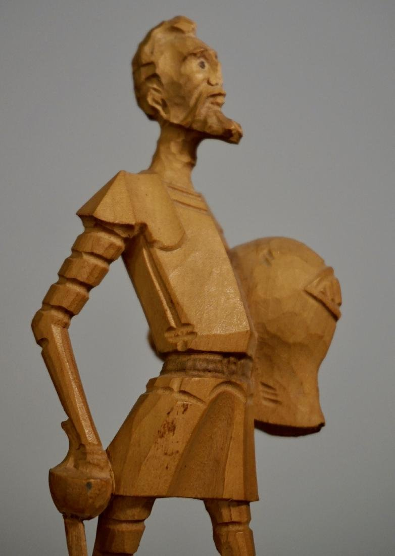 Vintage Carved Wood Figurine Of Don Quixote - 6