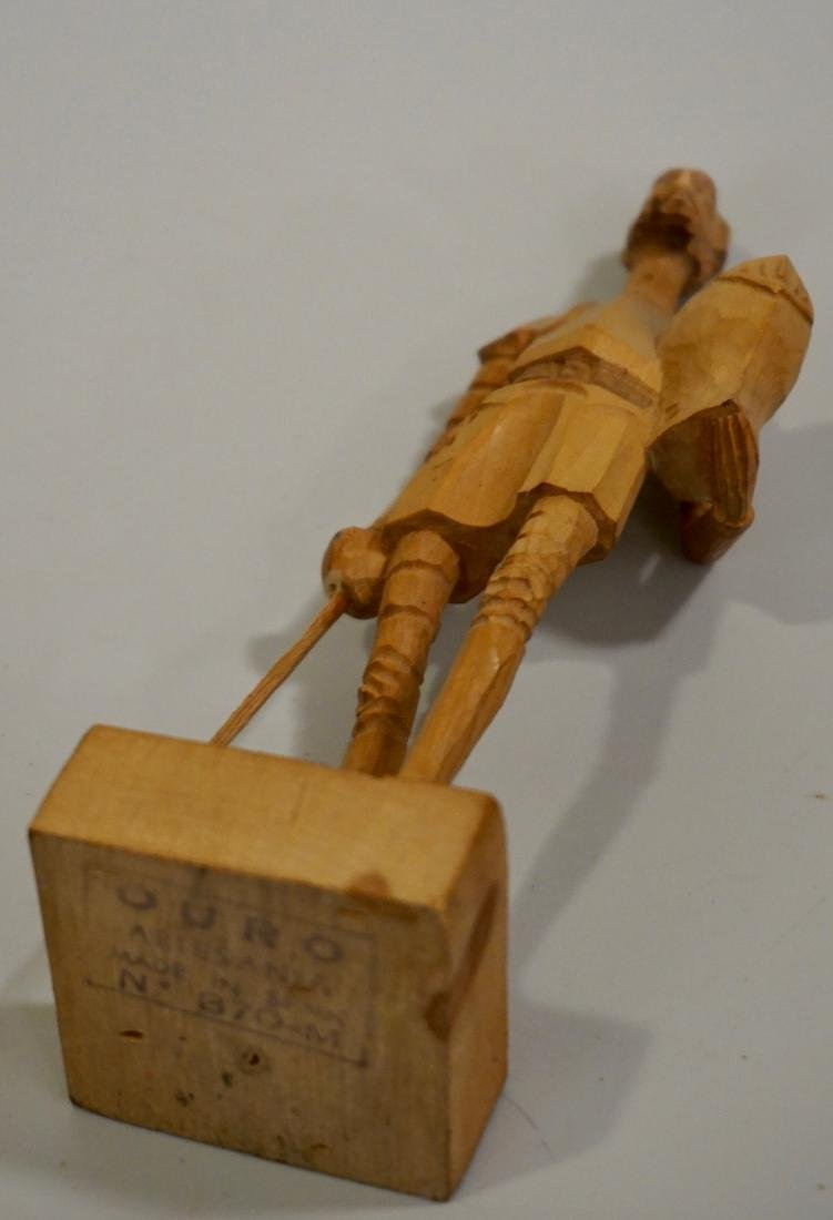 Vintage Carved Wood Figurine Of Don Quixote - 8