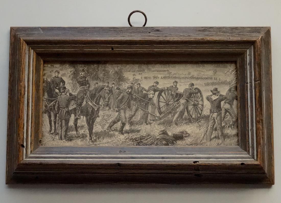 Civil War Cannon Battle Antique Print Engraving Vintage