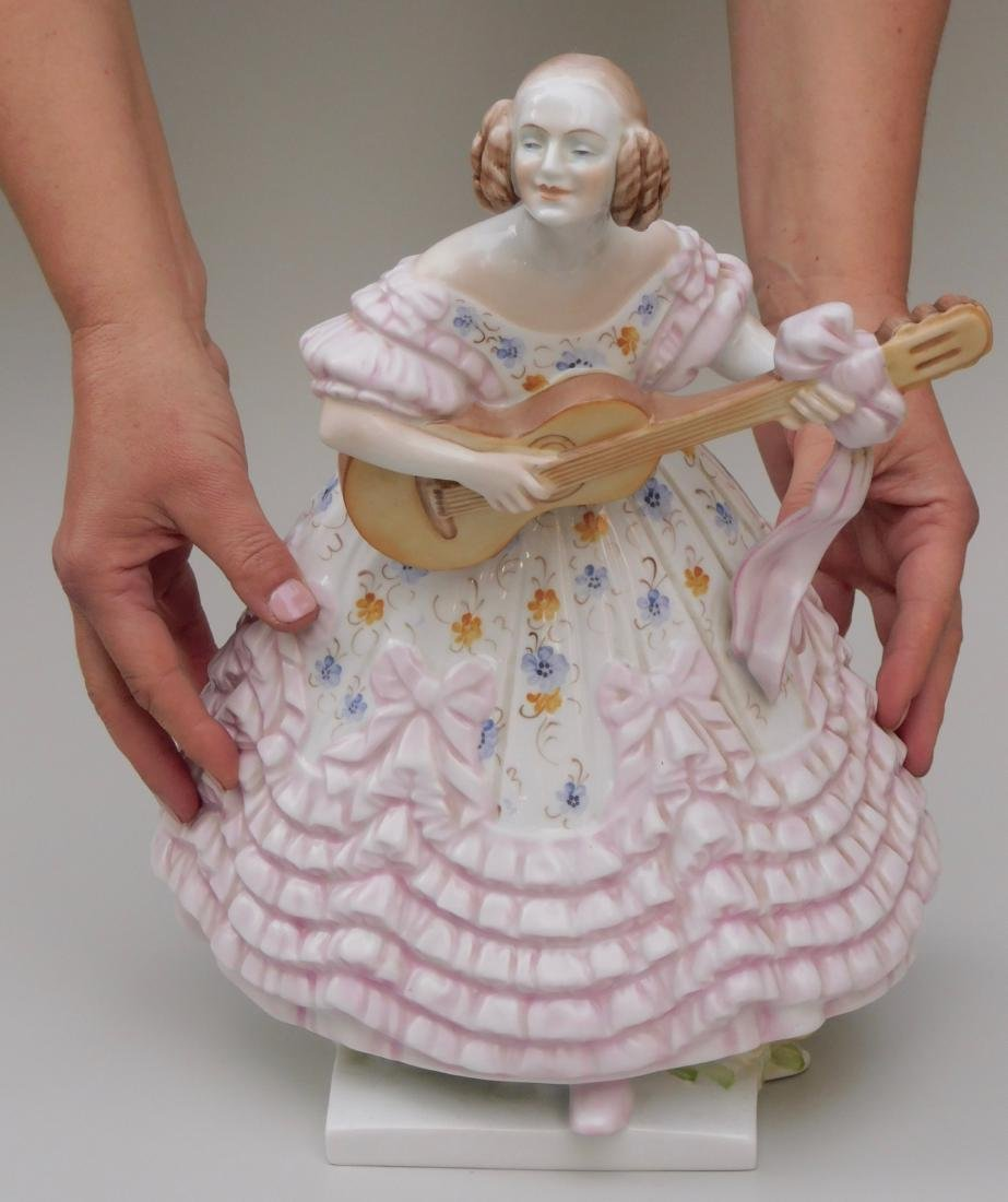 Large Herend Frau Dery Playing Guitar Ms.Dery Porcelain