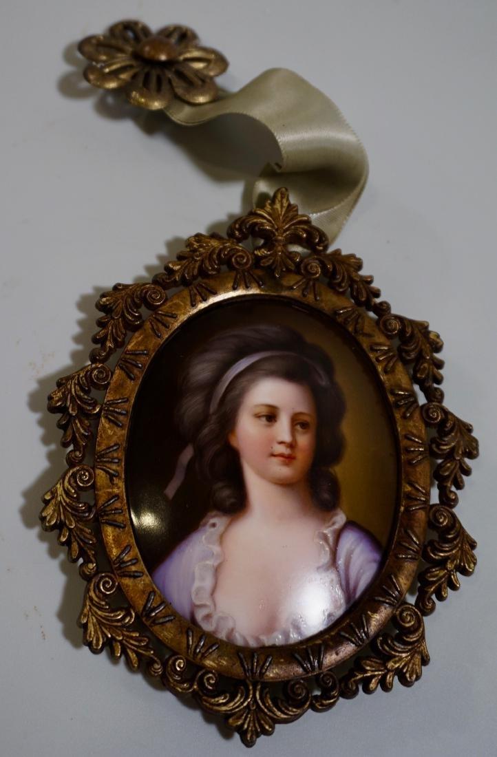 Painted Porcelain Miniature Beauty Portrait Plaque - 3