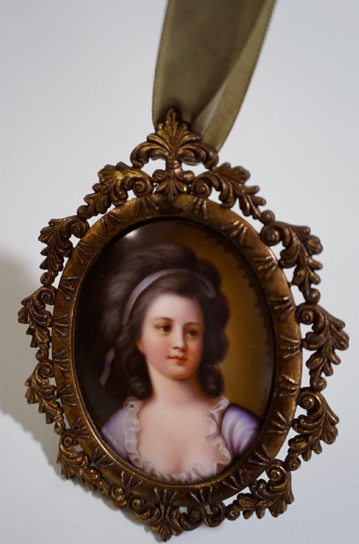 Painted Porcelain Miniature Beauty Portrait Plaque - 4