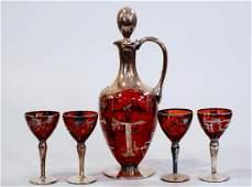 Vintage Venetian Art Deco Ruby Italian Art Glass Silver